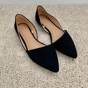 Black Pointy D'orsay Flats New!